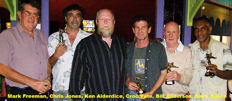 From the left, Mark Freeman, Chris Jones, Ken Alderdice, Croc Pete, Bill Anderson, Barti Simon
